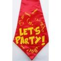 Grote stropdas rood met geel met de tekst Let's Party