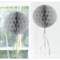 Honeycomb bal met sliertjs zilver 30cm