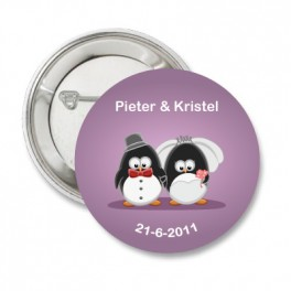 Button Pinguin Love purple