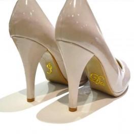 'I do' schoen sticker met strassteentjes geel