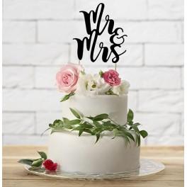 Aantrekkelijk geprijsde bruidstaart topping Mr & Mrs zwart met een hoogte van 25,5 cm