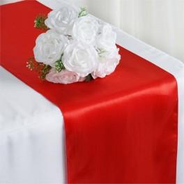 Satijnen tafelloper per stuk of per 4 stuks rood