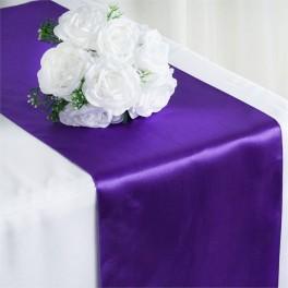 Satijnen tafelloper per stuk of per 4 stuks paars
