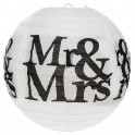 Twee bolvormige lampionnen Mr & Mrs black