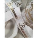 Elastische armband wit met gouden opdruk Bridesmaid