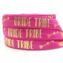 Elastische armband hot pink met gouden opdruk Bride Tribe