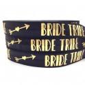 Elastische armband zwart met gouden opdruk Bride Tribe