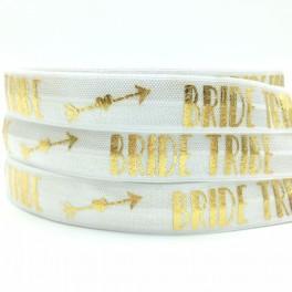 Elastische armband wit met gouden opdruk Bride Tribe