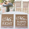 Set met 2 unieke jute stoel banners Mr Right en Mrs Always Right