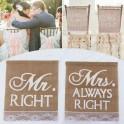 Set met 2 unieke jute stoel banners Mr Right en Mrs Always Right