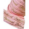 Elastische armband licht roze met gouden opdruk Bridesmaid