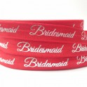 Elastische armband rood met zilveren opdruk Bridesmaid