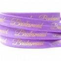 Elastische armband lila met goudfolie opdruk Bridesmaid