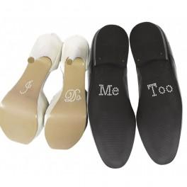 'I Do' en 'Me Too' handige en extra voordelige strass schoensticker set in een neutrale kleur