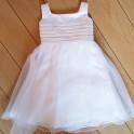 Stijlvol wit of ivoorkleurige bruidsmeisjes jurk met origineel bewerkt bovenlijfje