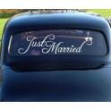 Auto decoratie sticker Just Married wedding birds