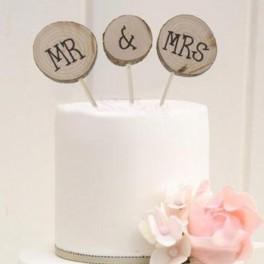 3-delige set houten bruidstaart toppers Mr & Mrs