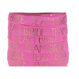 Elastische armband hot pink met gouden opdruk Team Bride