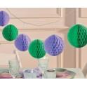 Trendy pompom slinger Mint en Lavendel