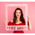 Kartonnen fotoprop in de vorm van een Frame Free Kiss