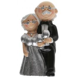 Grappig zilveren bruidspaar