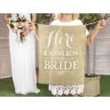 Jute banner Here Comes the Bride met witte tekst
