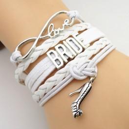 Armband met infinity teken, love charms en de tekst Bride