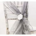 Organza stoelstrik per stuk of per pak met 10 stuks zilver18,5 x 270 cm.