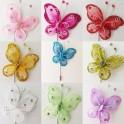 Corsage vlinders in diverse kleuren op luxe verzilverde speld met afsluitdopje