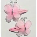 Kaart met twee haarknipjes Butterfly Pink