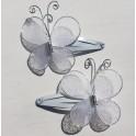 2 haarknipjes Butterfly White