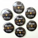 Set met 6x button Bride Tribe zwart en 1x Bride to Be Tribal zwart