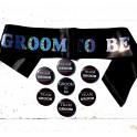 Set met 1 sjerp en 1 button Groom to Be zwart en 6 buttons Team Groom