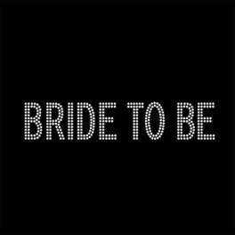 Opstrijkbare strass tekst Bride to Be double line