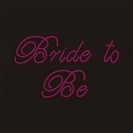 Opstrijkbare strass tekst Bride to Be hot pink