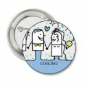 Button Funny Wedding couple blue