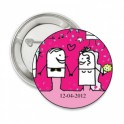 Button Funny Wedding couple pink