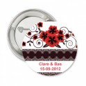 Button Red Flower retro