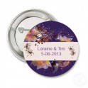 Button Purple Flowers retro