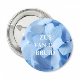 Button Blue Flowers