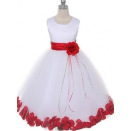 Bruidsmeisjes japon Red Flowers in wit of ivoorkleurige satijn met losse rozenblaadjes in de rok
