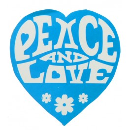 Pak met 50 stickers Peace and Love turquoise
