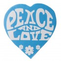 Pak met 50 kartonnen confetti stukjes Peace and Love turquoise