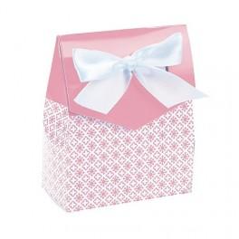 Pak met 12 sierlijke geschenkdoosjes met wit satijnen lintje wit met roze