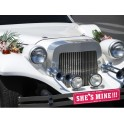 Kartonnen nummerbord She's of He's Mine