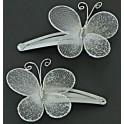 Kaart met twee haarknipje Butterfly White