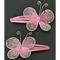Kaart met twee haarknipje Butterfly Pink